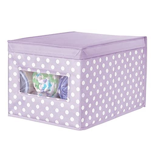 mDesign Caja organizadora de Tela – Caja de almacenaje apilable para Guardar Ropa y Zapatos o para ordenar armarios – Organizador de armarios con Tapa y ventanilla – Violeta y Blanco