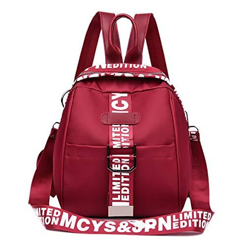 Mochila de moda para mujer, versión coreana de tela Oxford, bolsa de viaje al aire libre, vino tinto,