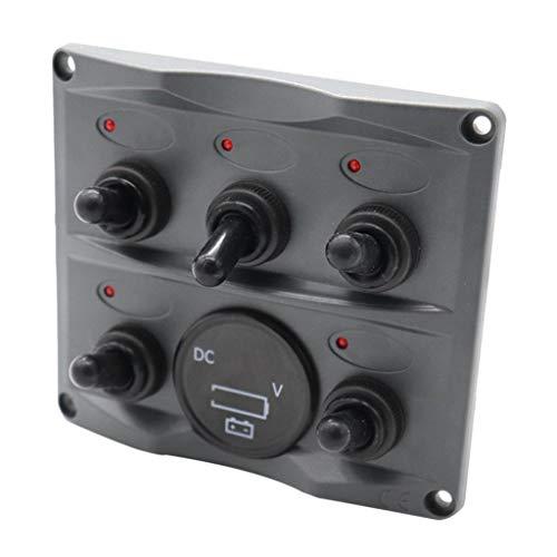 IPOTCH Barco Marine RV Electric 5 Gang Led Panel de Interruptores Indicador LED