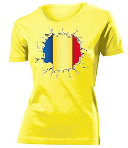 Rumänien Romania Fanshirt Fussball Fußball Trikot Look Jersey Damen Frauen t Shirt Tshirt t-Shirt Fan Fanartikel Outfit Bekleidung Oberteil Hemd Artikel