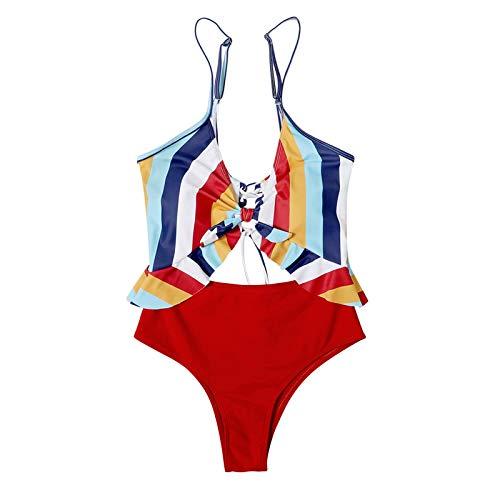 Senyounight - Conjunto de bikini de playa para mujer, diseño de rayas, color rojo, XL