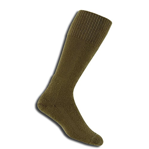 Thorlos Thick Cushion Combat Boot Over Calf Sock Size: S, Med Brown with a Helicase Sock Ring
