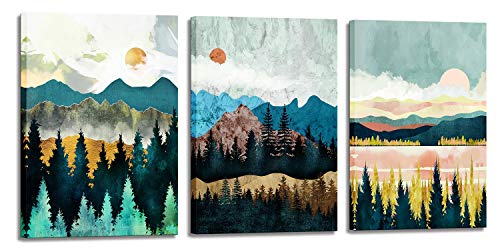 Abstract Wall Art Forest Mountain Watercolor Wall Paintings Landscape Modern Canvas Prints Bathroom Bedroom Office Wall Decor 3 Piece