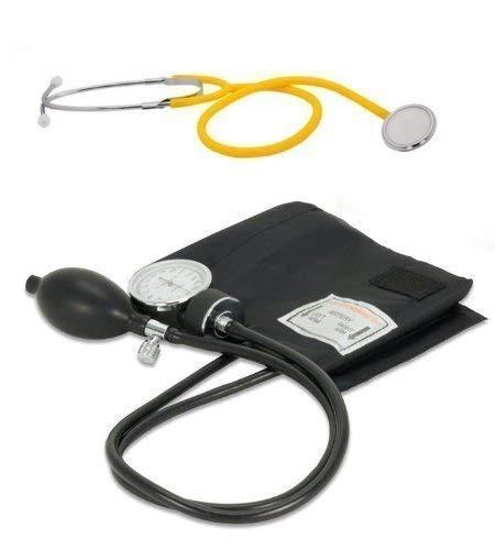 Blutdruckmessgerät Romed mit Pumpball und Oberarm Manschette mit Stethoskop Flachkopf Gelb