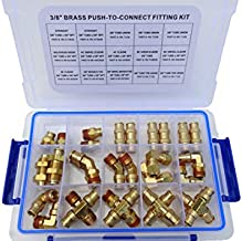 """Road King Truck Parts 3/8"""" Assorted Push Lock Brass Air Line Fitting Kit, DOT Approved"""