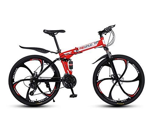 Hombres Bicicleta de Montaña,Plegable 26 Pulgadas Bicicletas de Acero Al Carbono,Doble Choque Velocidad Variable,Rueda Integrada de 6 Cuchillas,Altura Apropiada el 160-185cm,Rojo,26 in (21 speed)