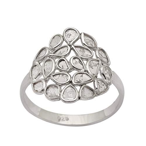 2.50 CTW anillo de bodas de diseñador polki de diamantes naturales Anillo de polki de diamantes naturales