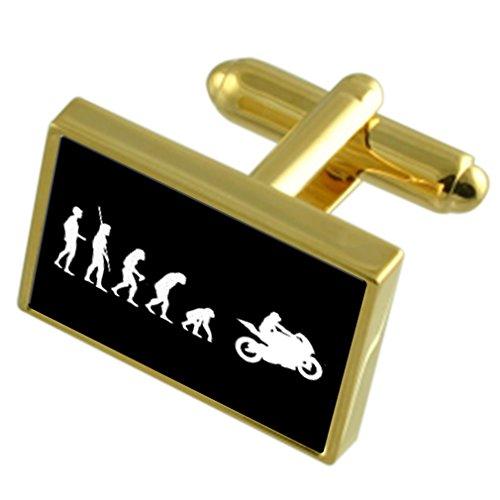 Select Gifts Evolution Affen zum Menschen Motorrad Gold-Manschettenknöpfe schwarze Tasche