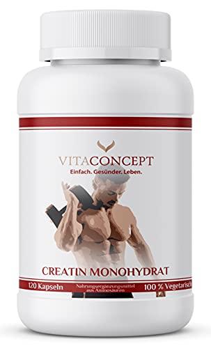 Creatin Monohydrat HOCHDOSIERT | 1000 mg pro Kapsel | 120 Kapseln | Kreatin Made in Germany von VITACONCEPT