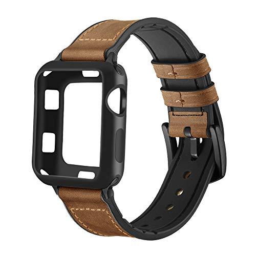Maxjoy Compatible with Apple Watch Band 42mm,Hybrid Bands Vintage Leather and Rubber Sweatproof Strap with Silicone Protective Case Compatible iWatch Series 3/2/1 Nike+ Sport Edition Dark Brown