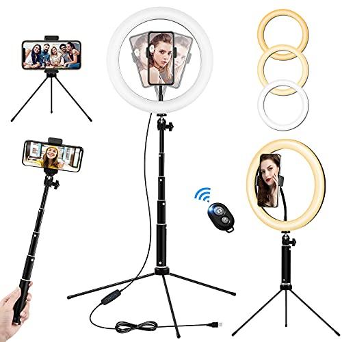 Aro de Luz con Tripode Fotografia de Escritorio, 10'/26cm Anillo de Luz con Control Remoto 3 Colores, 10 Brillos Altura Regulable, Ring Light para Tiktok Selfie Volg Maquillaje Youtube