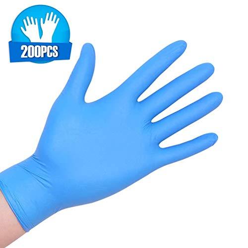 200pcs Nitrilo Guantes Desechables Polvo Guantes Libres De Látex, Dispensador Pack Cocina Universal/Lavavajillas/Trabajo/Goma/Guantes de Jardín (S, Azul)