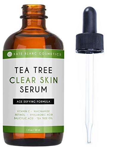 Tea Tree Serum for Face and Acne Prone Skin (1oz) by Kate Blanc. Age-Defying Formula with Niacinamide, Retinol, Salicylic Acid to Fight Scars and Dark Spots. Promotes Clear Skin (1oz)