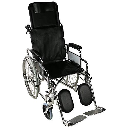 Mobiclinic, Modell Obelisco, für ältere und behinderte Menschen, Selbstfahren, Leichtgewicht, Pflegerollstuhl mit Liegefunktion, Beinstütze, Kopfstütze, Sitzbreite 45 cm