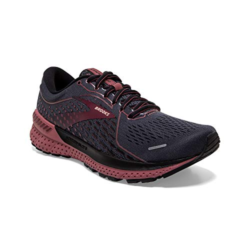 Brooks Women's Adrenaline GTS 21, Black/Raspberry, 10 Medium