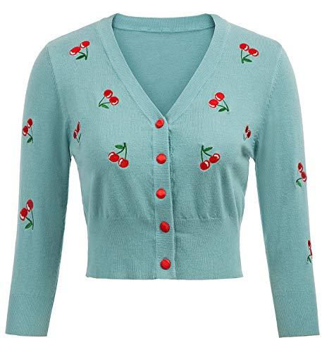 Belle Poque Abito Elegante Donna Vintage Ricamato Cover Top Coat Floral-5 (609-5) Medium