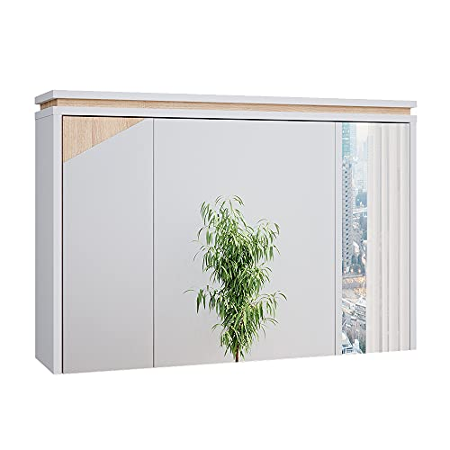 Vicco Spiegelschrank Badspiegel Badschrank Luisa Badezimmerspiegel 3 Türen (Weiß Eiche)