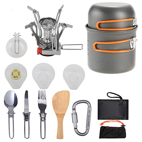 Camping Cookware Pan Hiking Outdoor Cooking Picnic Bowl Cutlery Spoon Stove Set,One To Two Persons Portable Non Stick Pot with Mesh Kit Bag (A)