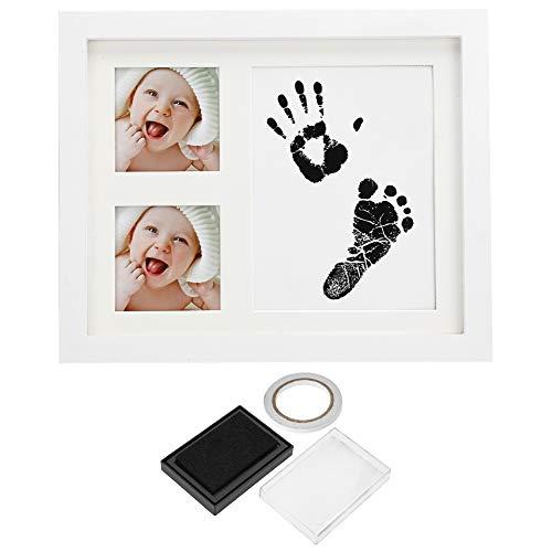 Yunnyp Baby-Bilderrahmen für Neugeborene, 3 Gitterstäbe, Handabdruck, Fußabdruck, Holz, mit Stempelkissen, white, weiß, 1