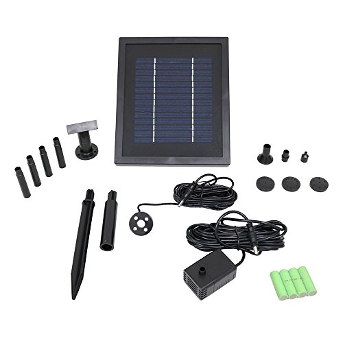 Sunnydaze Outdoor Solar Pump and Panel Fountain Kit with Battery Pack and LED Light - Pool, Pond and Fountain Pump with Rechargeable Solar Battery - 65 GPH - 47-Inch Lift