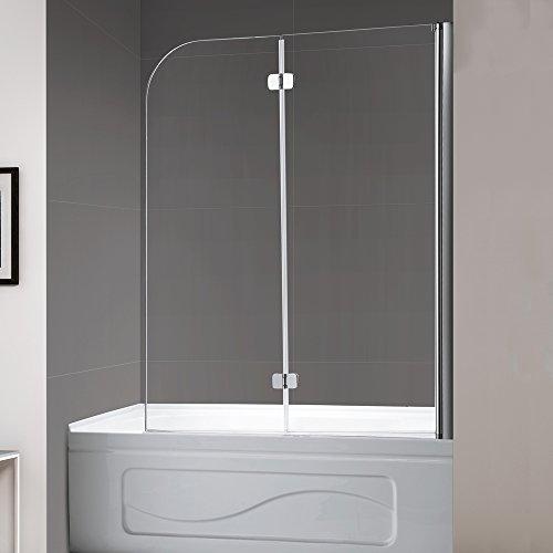"Mellewell Fold 36 in. Width, Frameless Hinged Tub Shower Door Swing Bathtub Screen, 1/4"" Tempered Glass, Brushed Nickel"