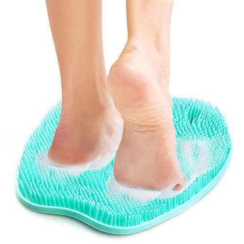 Masajeador de ducha de pies con ventosas antideslizantes, tapete limpiador de exfoliación de pies para masaje de pies limpio, mejora la circulación y reduce el dolor