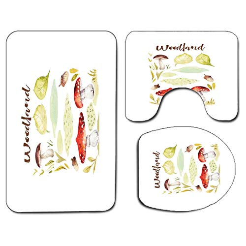 3Pcs Non-Slip Bathroom Rug Toilet Seat Lid Cover Set Autumn Soft Skidproof Bath Mat Forest Elements Hand Drawn Aquarelle Style Fungus Nuts and Foliage Leaves Autumn,Multicolor Absorbent Doormat Bedroo
