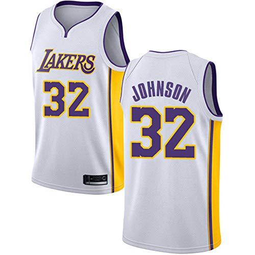 Baloncesto Masculino NBA Jersey Vintage Lakers 32# Johnson Transpirable Quick Secking sin Mangas Vestima Top para los Deportes,Blanco,L
