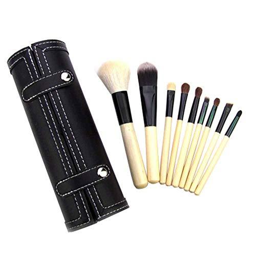 Pinceaux de Maquillage, Pinceaux Maquillages Kit de 9 pcs outils cosmétiques, pour Fond de teint, Blending, Blush, Eyeliner et Fard à Paupières, Manches en Bois Naturel,avec Boîte de Rangement