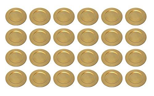 TAMLED Platzteller used look Dekoteller Ø 33 cm gold Set in wiederverwendbarem Kunststoff