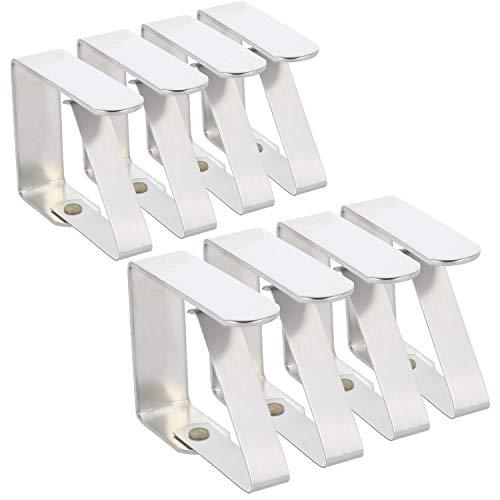 com-four® 8X Premium Tischdeckenklammer - Tischklammern aus Edelstahl - Tischtuchklammer rostfrei für drinnen und draußen