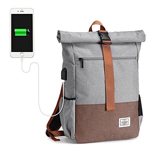 JOSEKO Rolltop Rucksack, Fahrradrucksäcke Schulrucksack Wanderrucksäcke Daypack für Schule Bergsteigen Freizeit Reise, Laptop Rucksack für 17 Zoll mit großer Kapazität und USB-Ladeanschluss(Hellgrau)