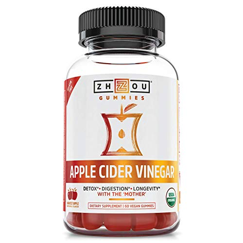 Zhou Nutrition Apple Cider Vinegar Gummies with The Mother - ACV Vegan Detox Cleanse - Gluten Free Probiotic Supplement for Digestion Support - 60 Gummies