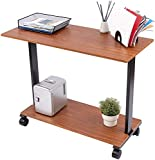 Stand Up Desk Store Two Level Rolling Printer Stand/Desk Shelf | Increase Usable Desk Space While Making Room for a Printer and Supplies (42', Teak)