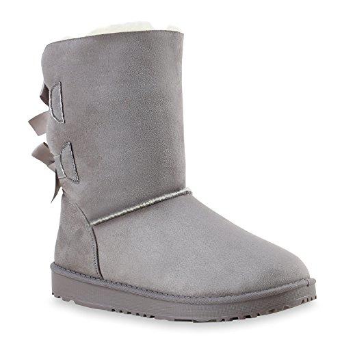 Bequeme Damen Schlupfstiefel Winter Boots Stiefel Gefüttert Schuhe 126794 Grau Schleifen 37 Flandell