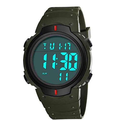 Pantalla Estudiantes Reloj Digital del Led Reloj Electrónico Resistente Al Agua con Cuero De Brazalete Grande Camisa Cara Militar Luminoso Verde Cronómetro