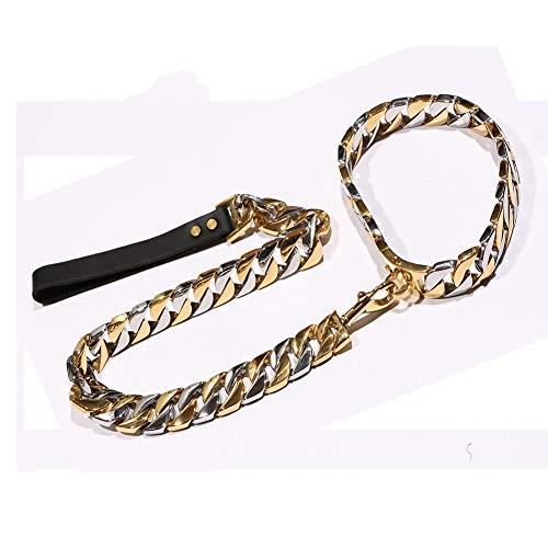 32 MM Collar Para Perros De Oro Y Plata Con Cerradura De