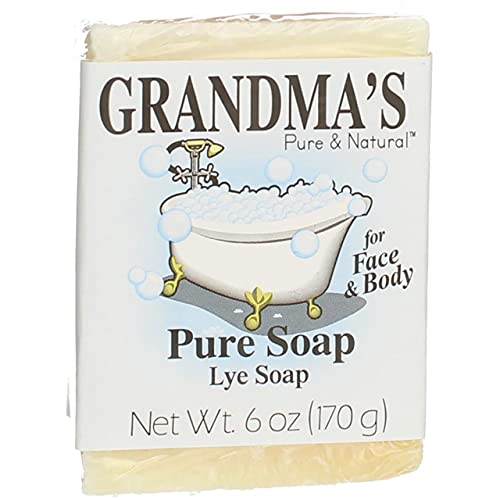 Grandma's Pure Lye Soap Bar, Unscented Face & Body Wash Cleans with No...