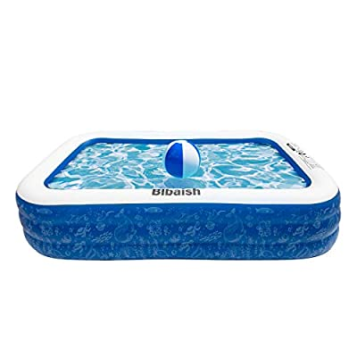 """HiTauing Inflatable Swimming Pool, Family Full-Size Kiddie Pools, 130"""" /118""""/94.5"""" Inflatable Lounge Pool for Kiddie, Kids, Adult, Infant, Toddlers for Ages 3+,Outdoor, Garden, Backyard, Water Party"""