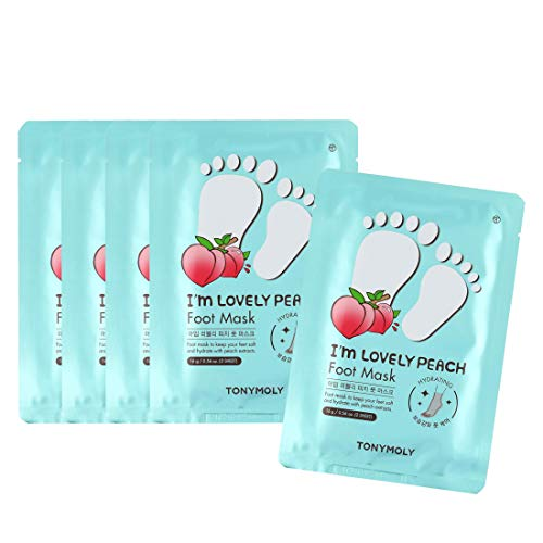 TONYMOLY I'm Lovely Peach Foot Mask, 5 Count