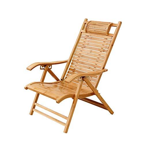 ZXQZ Silla Gravedad Cero Silla plegable - Silla de bambú Silla reclinable Oficina Respaldo perezoso...