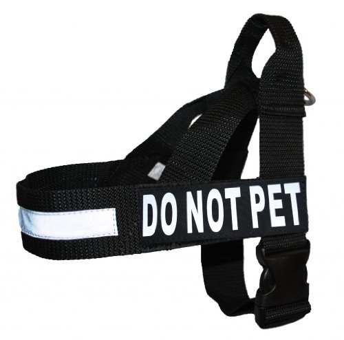 DO NOT PET Nylon Strap Service Dog Harness No Pull Guide Assistance Comes with 2 Reflective DO NOT PET Removable Patches. Please Measure Your Dog Before Ordering.