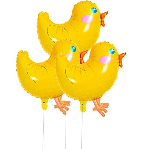 BESTOYARD 3pcs Caminar Globos de Animales Globos de Aluminio Pollos Grandes Globos de Helio Juguetes Paseantes aéreos para niños Regalo Fiesta de cumpleaños de Favores Decoraciones (Amarillo)