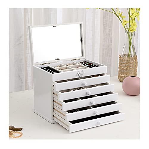 Joyería Caja de Almacenamiento Caja de joyería de madera grande para mujer Organizador caja / gabinete / armario con bloqueo de joyería organizador para niñas anillo collar, 5 cajones Colgador de joya