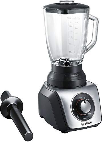Bosch Silentmixx MMB65G5M Blender avec sélecteur de vitesse et différents programmes, lames Easy Klickkninfe, bol thermorésistant, accessoire poussoir Noir/acier 800 W 2,3 l