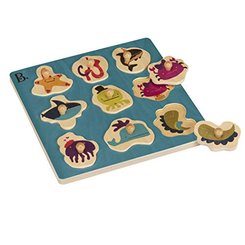 B. Toys – Hide N' Sea Underwater Peg Puzzle – Classic Wooden Puzzles for Toddlers with 9 Chunkypiece – Sea Animals & Shape Sorting – Natural Wood Toddler Puzzles