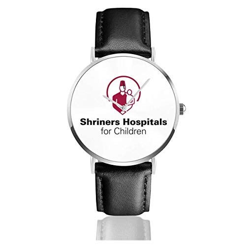 Cool Logo of Shriners Reloj con Correa de Cuero Casual Pulsera de Cuarzo de Acero Inoxidable Correa de Cuero Negro y Esfera Delgada