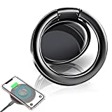 eSamcore Phone Ring Holder – Wireless Charger Friendly Ceramic Finger Ring Holder Kickstand [3mm Ultra-Thin] Compatible with All Wireless Charging Cell Phone for iPhone Samsung Galaxy [Black]