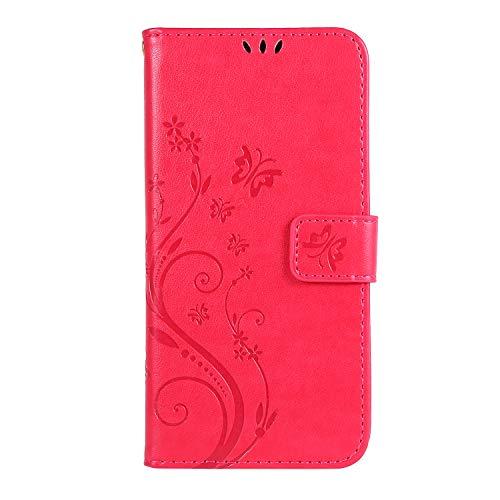 Lomogo Coque Galaxy A40 Portefeuille, Housse en Cuir avec Porte Carte Fermeture par Rabat Aimanté Antichoc Étui Case pour Samsung Galaxy A40 - LOGHU060154 Rose Rouge