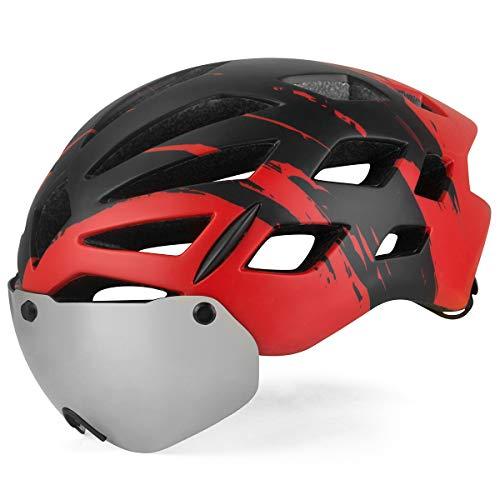KING BIKE Fahrradhelm Helm Bike Fahrrad Radhelm FüR Herren Damen Helmet mit Abnehmbarem UV400 Schutz,Abnehmbaren Schutzbrille Schild Visier (ROT, L)